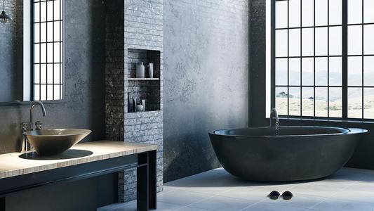Designerska łazienka w stylu industrialnym