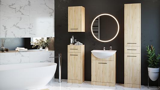 Przytulna łazienka w kolorze drewna